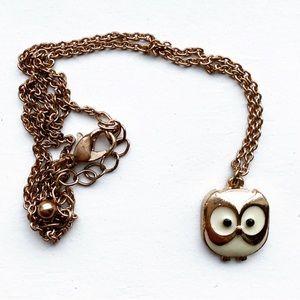 Chic gold & white enamel cartoon owl necklace